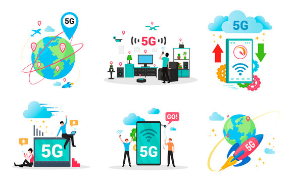5g technology flat set. Gadgets, computers, cellphones owners using mobile high speed internet.