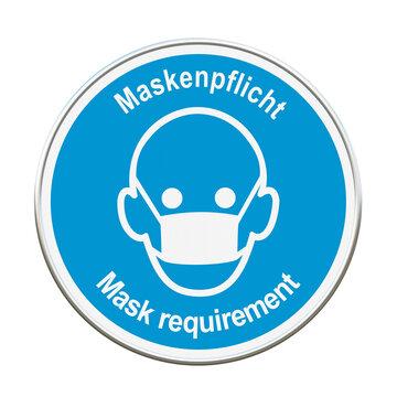 """Symbol Schild mit Text in deutsch und englisch """"Maskenpflicht"""". 3d rendering"""