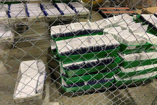 Mailed election ballots are stored before counting at the Philadelphia Convention Center in Philadelphia