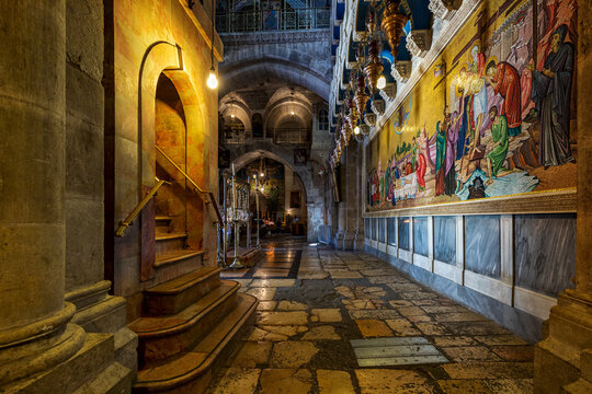 Interiors of the Church of the Holy Sepulchre in Jerusalem, Israel.