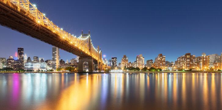 USA, New York, New York City, Ed Koch Queensboro Bridge illuminated at night