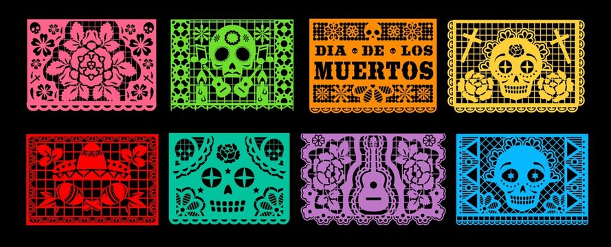 Dia de los Muertos papel picado vector set of Mexican Day of the Dead or Halloween holiday. Paper cutting flags bunting garland with pattern of skull, sombrero, maracas, guitar and marigold flower