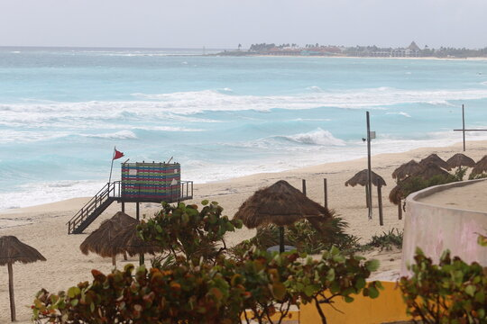 A general view shows a beach closed due to the proximity of Hurricane Zeta in Cancun