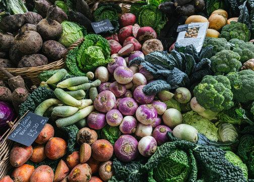 fresh produce at borough market, london, uk