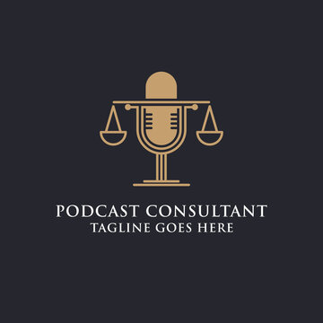Legal podcast law firm logo design image, best for podcast consultant logo brand vector