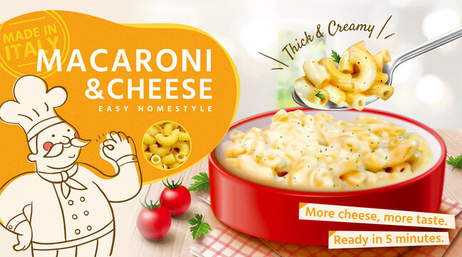 Tasty macaroni and cheese ads