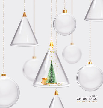 Merry christmas and Happy New Year. Balls hanging ribbon. Glass and cone christmas baubles hang on gold chain. Xmas background. Holiday decoraiton objects. vector illustration