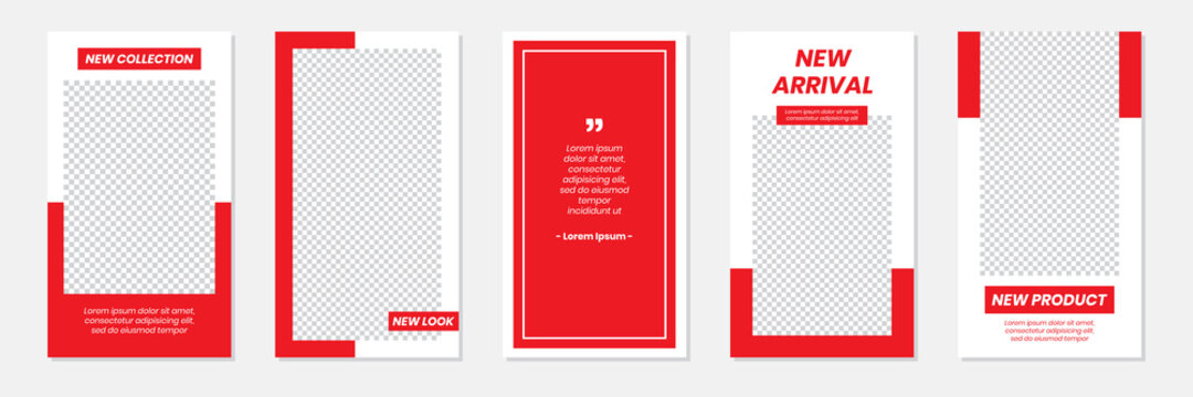 Set of rectangle editable minimal layout social media stories template red color for personal or business. Use this layout for web, banner, poster, shop, discount, sale, promotional product.