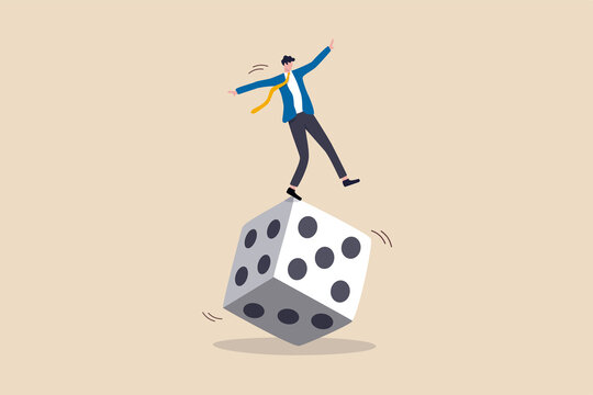 Investment risk, stock trader, gambling, uncertainty, possibility of losing money or make a profit from investment concept, greedy investor man dare trying to balance himself on spinning unstable dice