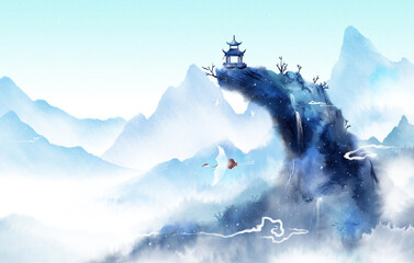 Blue ink landscape painting, oriental color ink painting.Snowy winter, beautiful classical landscape painting.
