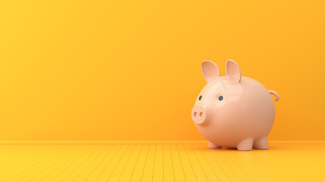 Yellow empty interior and pink pig piggy bank. 3d render illustration.