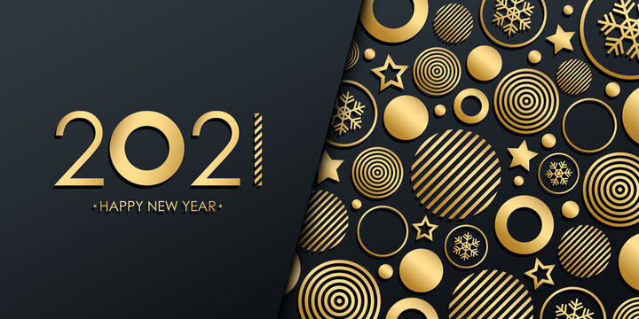 2021 New Year luxury holiday banner with gold christmas balls, stars and snowflakes. Vector illustration.