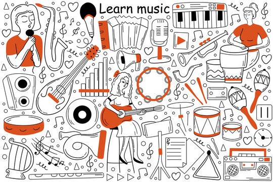 Learn music doodle set. Collection of sketches templates patterns of woman girl teenager musician learns song lessons and playing guitar musical instrument. Creative occupation and getting knowledge.