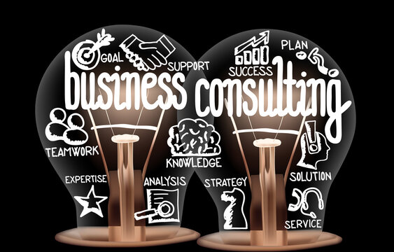 Light Bulbs with Business Consulting Concept
