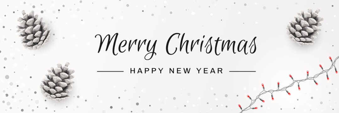 Merry Christmas and Happy New Year Invitation. Christmas Background with Pinecones, String Lights, Caligraphy Text. Creative Design Greeting Card, Banner, Poster. Top View , Xmas Decoration