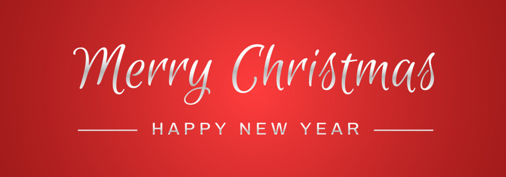 Merry Christmas and Happy New Year Lettering for Invitation and Greeting Card, Prints and Posters. Silver Text on Red Background. Calligraphic Inscription Design