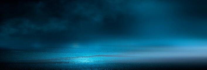 Fotomurales - Dark cold wet street, asphalt, neon light. Reflection of neon in water. Empty night street scene, night city, smoke. abstract dark empty scene abstract night landscape neon blue light  silhouettes