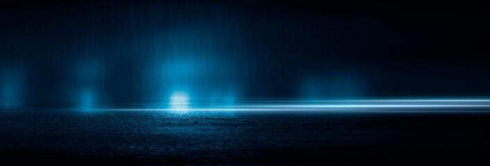 Dark cold wet street, asphalt, neon light. Reflection of neon in water. Empty night street scene, night city, smoke. abstract dark empty scene abstract night landscape neon blue light  silhouettes Fotomurales