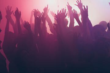 Photo of big company joyful crazy people neon spotlight wear stylish trendy outfit modern club...