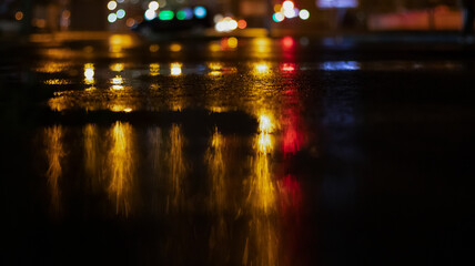 Wet asphalt, reflection of neon lights, a searchlight, smoke. Abstract light in a dark empty street with smoke, smog. Dark background scene of empty street, night view, Fotomurales