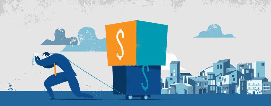 Uomo che trasporta scatole pesanti con il simbolo del dollaro. Concetto per peso delle tasse, debiti finanziari, pagamento di interessi ai creditori