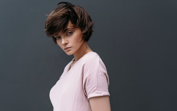 Portrait of young model with short hair