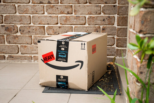 Sydney, Australia - 2020-10-17 Amazon prime box delivered to a front door of residential building