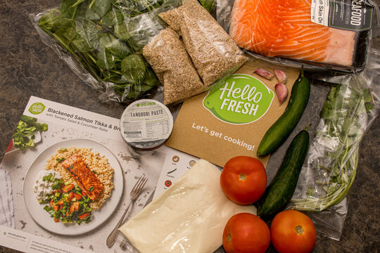 Sydney, Australia 2020-05-09 Hello Fresh meal kit on a kitchen countertop