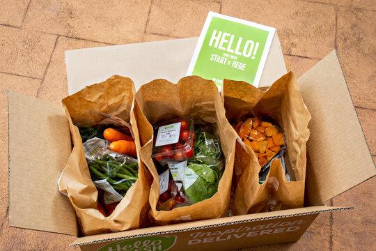 Sydney, Australia 2020-05-09 Hello Fresh meal kits in a cardboard box.