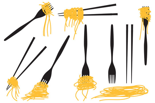 Noodle and spaghetti on chopsticks and fork vector set isolated on a white background.