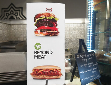 Thessaloniki, Greece - 07.18.2020 : Sign with Beyond Meat burgers in the fast food corner.