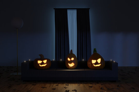 3d rendering of creepy jack o' lanterns sitting on the sofa in the darken living room
