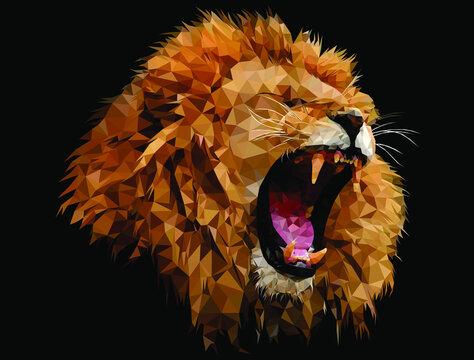 lion roar low poly design art