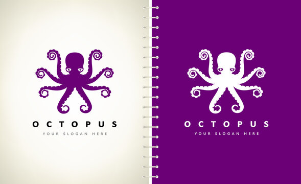 octopus underwater animal logo design