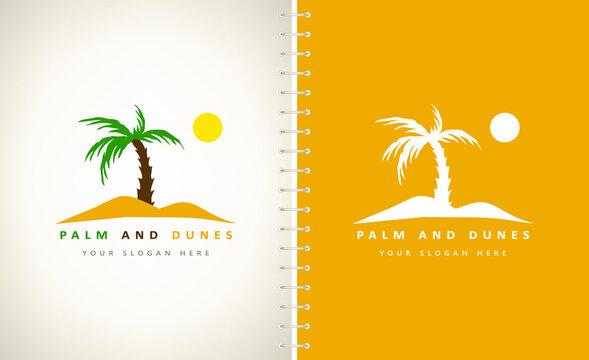 palm and dunes logo nature design