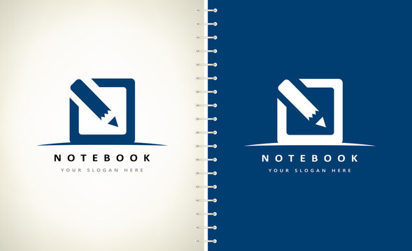 notebook logo design pencil and notepad vector