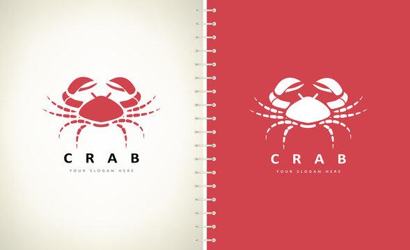 crab logo underwater animal vector design
