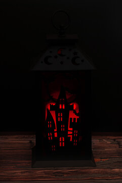 Halloween lantern with lit candle