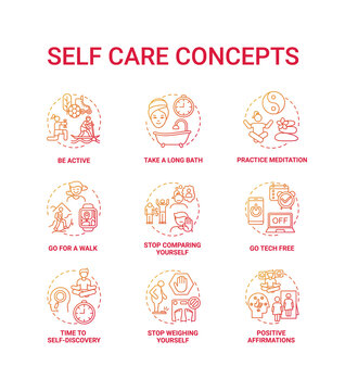 Self care concept icons set. Self health care to do list for everyday life. Healthy leisure time activities. Body positivity idea thin line RGB color illustrations. Vector isolated outline drawings