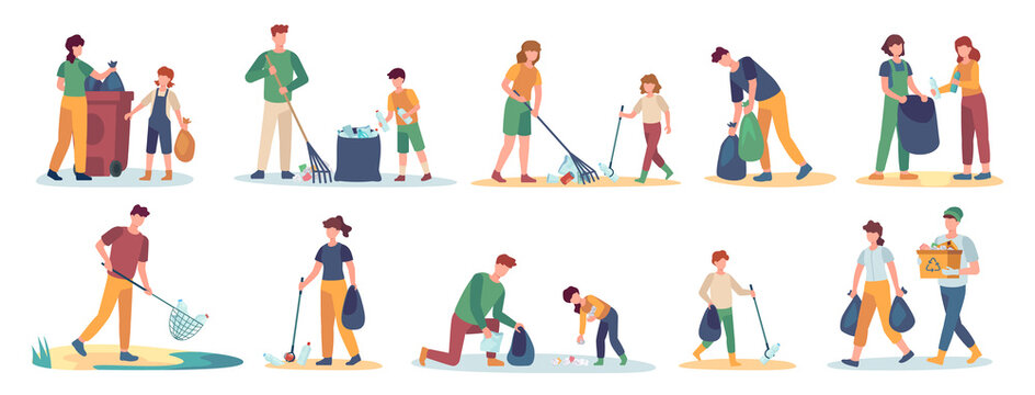 Volunteer collects trash. Men, women and children cleaning nature from garbage set. Isolated vector family picks up and sorting waste. Illustration volunteer people together collect rubbish