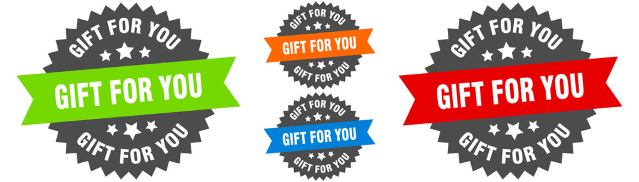 gift for you sign. round ribbon label set. Seal