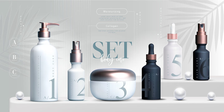 Elegant cosmetic set of products background, premium cream jar for skin care products. Luxury facial cream. Cosmetic ads flyer or banner design. Blue cosmetic cream template. Makeup products brand.