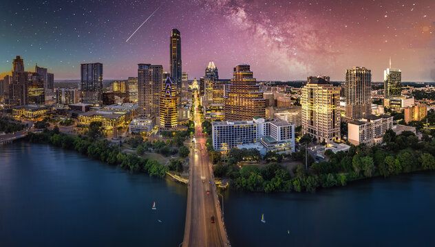 austin texas skyline with milky way