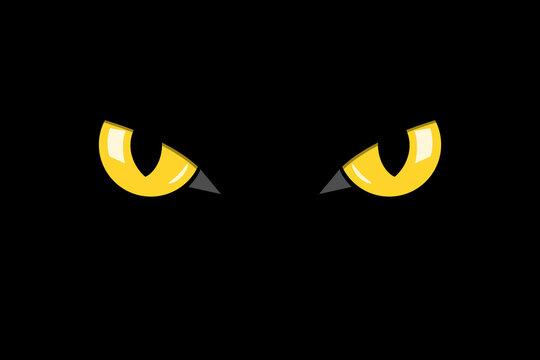 closeup cat eyes of black cat in dark night vector illustration