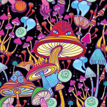 Seamless patterns with decorative mushrooms