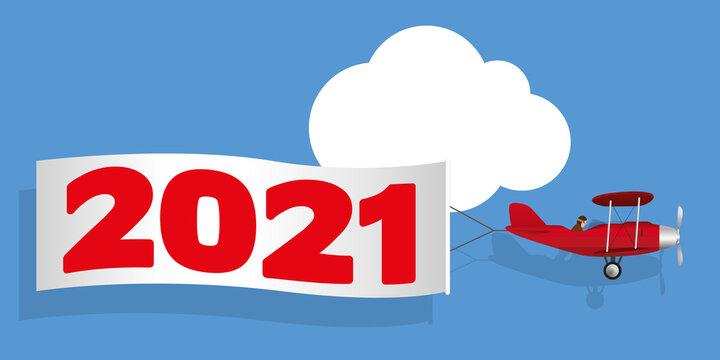 Carte de vœux humoristique, montrant un avion rouge à hélice tirant une banderole blanche, annonçant l'arrivée de l'année 2021.