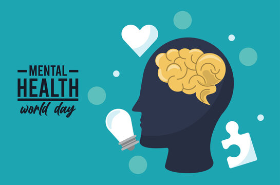 world mental health day campaign with brain profile and icons