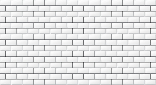 "Glossy white brick wall. Seamless subway tile, metro tile illustration (2""x1""). Contemporary bathroom, kitchen tiles in vector."