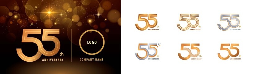 Obraz Set of 55th Anniversary logotype design, Fifty five years Celebrate Anniversary Logo - fototapety do salonu