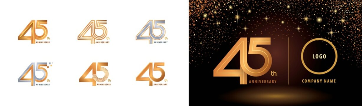 Set of 45th Anniversary logotype design, Forty five years Celebrate Anniversary Logo